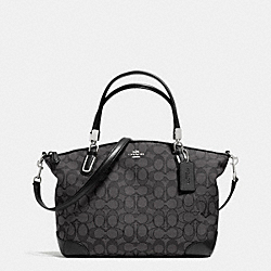 COACH SMALL KELSEY SATCHEL IN SIGNATURE WITH LEATHER TRIM - SILVER/BLACK SMOKE/BLACK - F36181
