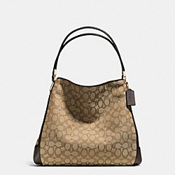 PHOEBE OUTLINE SHOULDER BAG IN SIGNATURE CANVAS - f36184 -  LIGHT GOLD/KHAKI/BROWN
