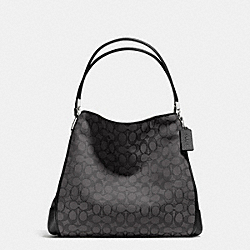 PHOEBE OUTLINE SHOULDER BAG IN SIGNATURE CANVAS - f36184 -  SILVER/BLACK SMOKE/BLACK