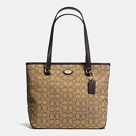 COACH ZIP TOP TOTE IN SIGNATURE -  LIGHT GOLD/KHAKI/BROWN - f36185