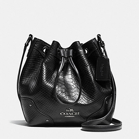 COACH f36215 BABY MICKIE DRAWSTRING SHOULDER BAG IN EXOTIC LEATHER ANTIQUE NICKEL/BLACK