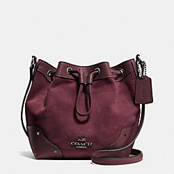 COACH BABY MICKIE DRAWSTRING SHOULDER BAG IN SUEDE - ANTIQUE NICKEL/OXBLOOD - F36217