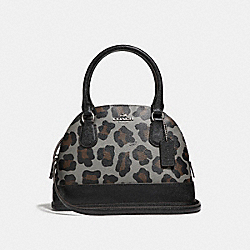 COACH MINI CORA DOMED SATCHEL IN OCELOT PRINT COATED CANVAS - SILVER/GREY MULTI - F36219