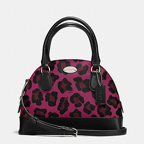 COACH f36219 MINI CORA DOMED SATCHEL IN OCELOT PRINT COATED CANVAS SILVER/CRANBERRY