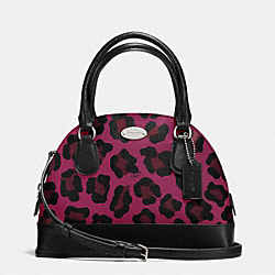 COACH MINI CORA DOMED SATCHEL IN OCELOT PRINT COATED CANVAS - SILVER/CRANBERRY - F36219