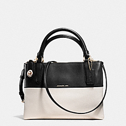 MINI BOROUGH BAG IN COLORBLOCK CROSSGRAIN LEATHER - LIGHT GOLD/CHALK/BLACK - COACH F36233