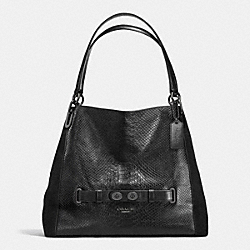 COACH BLAKE SHOULDER BAG IN EXOTIC EMBOSSED LEATHER - ANTIQUE NICKEL/BLACK - F36234