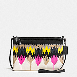 SWINGPACK WITH POP-UP POUCH IN PRINTED CROSSGRAIN LEATHER - f36274 - SILVER/HAWK FEATHER