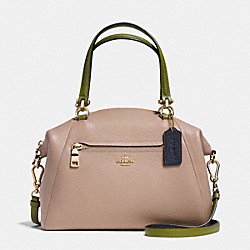 PRAIRIE SATCHEL IN COLORBLOCK PEBBLE LEATHER - f36312 - LIGHT GOLD/STONE