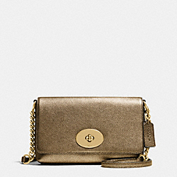 CROSSTOWN CROSSBODY IN METALLIC PEBBLE LEATHER - f36335 - LIGHT GOLD/GOLD