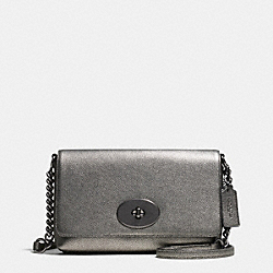 COACH CROSSTOWN CROSSBODY IN METALLIC PEBBLE LEATHER - ANTIQUE NICKEL/GUNMETAL - F36335