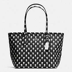 COACH COACH TAXI ZIP TOP TOTE IN CROSSGRAIN LEATHER - SILVER/BLACK PARCHMENT BADLANDS FLORA - F36357
