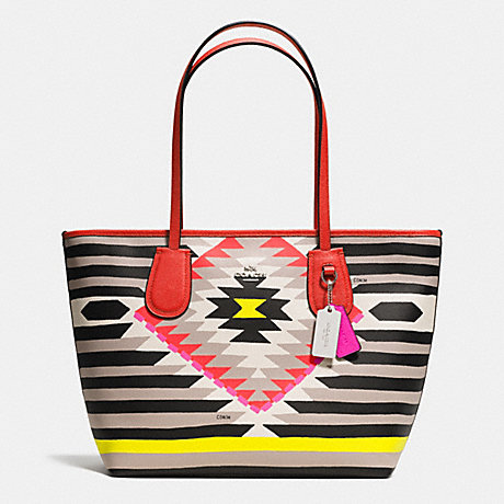 COACH COACH TAXI ZIP TOP TOTE IN PRINTED CROSSGRAIN LEATHER - SVE2M - f36361