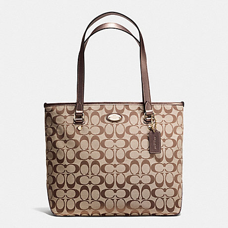 COACH ZIP TOP TOTE IN SIGNATURE - IMCBQ - f36375