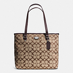 COACH ZIP TOP TOTE IN SIGNATURE - SILVER/KHAKI/MAHOGANY - F36375