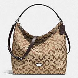 COACH CELESTE CONVERTIBLE HOBO IN SIGNATURE CANVAS - SILVER/KHAKI/MAHOGANY - F36377