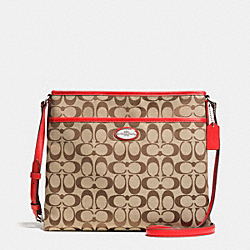 COACH FILE BAG IN SIGNATURE - SILVER/KHAKI/CARDINAL - F36378