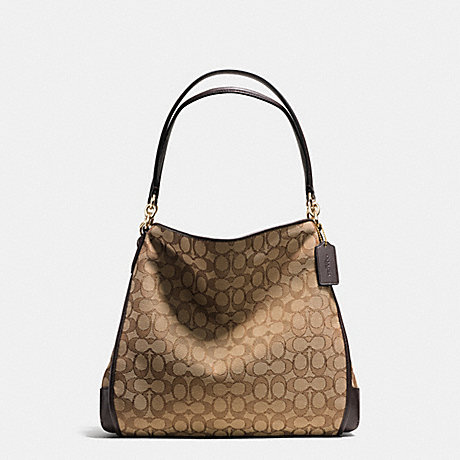 COACH PHOEBE SHOULDER BAG IN OUTLINE SIGNATURE - IMITATION GOLD/KHAKI/BROWN - f36424
