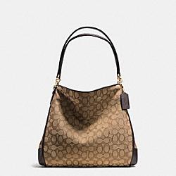 PHOEBE SHOULDER BAG IN OUTLINE SIGNATURE - f36424 - IMITATION GOLD/KHAKI/BROWN