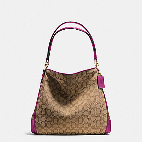 COACH PHOEBE SHOULDER BAG IN OUTLINE SIGNATURE - IMITATION GOLD/KHAKI/FUCHSIA - f36424