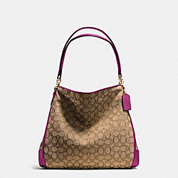 PHOEBE SHOULDER BAG IN OUTLINE SIGNATURE - f36424 - IMITATION GOLD/KHAKI/FUCHSIA