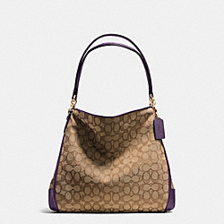 PHOEBE SHOULDER BAG IN OUTLINE SIGNATURE - f36424 - IMITATION GOLD/KHAKI AUBERGINE