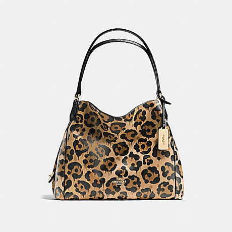 COACH f36453 EDIE SHOULDER BAG 31 IN POLISHED PEBBLE LEATHER WITH WILD BEAST PRINT LIGHT GOLD/WILD BEAST