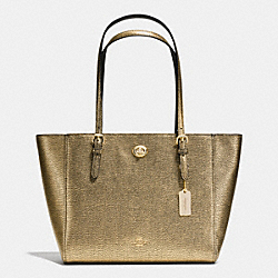 COACH TURNLOCK SMALL TOTE IN METALLIC PEBBLE LEATHER - LIGHT GOLD/GOLD - F36459