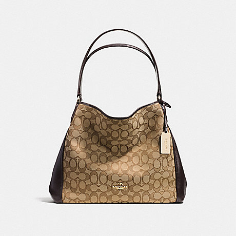 COACH EDIE SHOULDER BAG 31 IN SIGNATURE JACQUARD - LIGHT GOLD/KHAKI - f36466