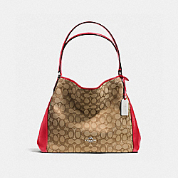 COACH EDIE SHOULDER BAG 31 IN SIGNATURE - SILVER/KHAKI/TRUE RED - F36466