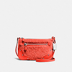 COACH SMALL RHYDER POCHETTE IN SHEARLING - SILVER/ORANGE - F36490