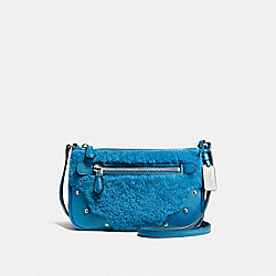 SMALL RHYDER POCHETTE IN SHEARLING - SILVER/PEACOCK - COACH F36490