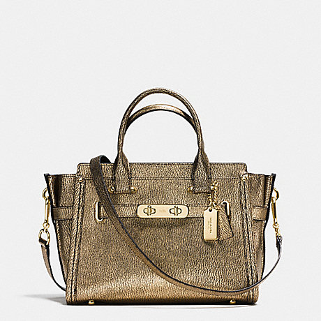 COACH f36497 COACH SWAGGER 27 IN METALLIC PEBBLE LEATHER LIGHT GOLD/GOLD