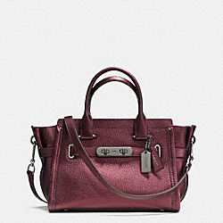 COACH SWAGGER 27 IN METALLIC PEBBLE LEATHER - BLACK ANTIQUE NICKEL/METALLIC CHERRY - COACH F36497