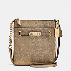 COACH SWAGGER SWINGPACK IN METALLIC PEBBLE LEATHER - LIGHT GOLD/GOLD - COACH F36502