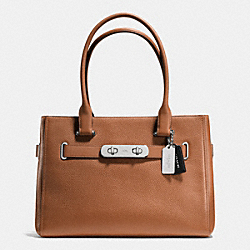 COACH SWAGGER CARRYALL IN COLORBLOCK PEBBLE LEATHER - SILVER/SADDLE - COACH F36514