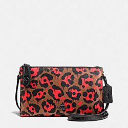 CROSBY CROSSBODY IN WILD BEAST PRINT LEATHER - f36520 - BLACK ANTIQUE NICKEL/ORANGE WILD BEAST