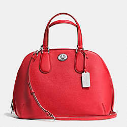 PRINCE STREET SATCHEL IN POLISHED PEBBLE LEATHER - f36542 - SILVER/TRUE RED