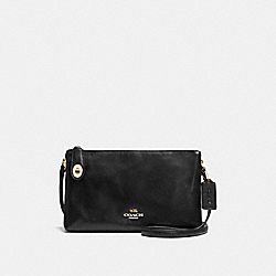 CROSBY CROSSBODY IN CALF LEATHER - f36552 - LIGHT GOLD/BLACK