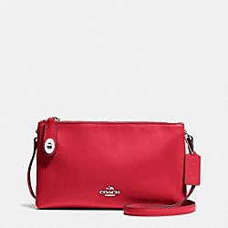 CROSBY CROSSBODY IN CALF LEATHER - f36552 - SILVER/TRUE RED