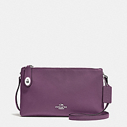 CROSBY CROSSBODY IN CALF LEATHER - f36552 - SILVER/EGGPLANT