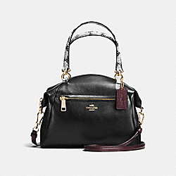 PRAIRIE SATCHEL IN COLORBLOCK EXOTIC EMBOSSED LEATHER - f36553 - LIGHT GOLD/BLACK