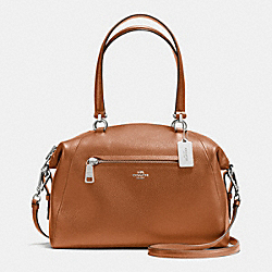 LARGE PRAIRIE SATCHEL IN PEBBLE LEATHER - f36560 - SILVER/SADDLE