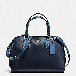 NOLITA SATCHEL IN COLORBLOCK EXOTIC EMBOSSED LEATHER - f36583 - LIGHT GOLD/NAVY