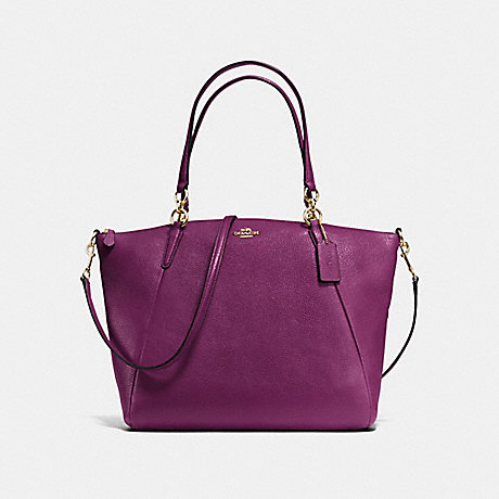 COACH KELSEY SATCHEL IN PEBBLE LEATHER - IMITATION GOLD/PLUM - f36591