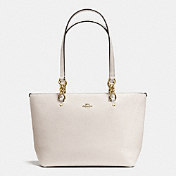 SOPHIA SMALL TOTE IN POLISHED PEBBLE LEATHER - f36604 - LIGHT GOLD/CHALK