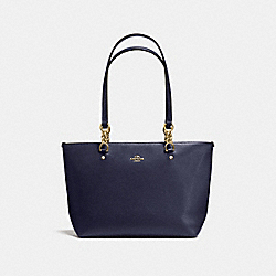 SOPHIA SMALL TOTE IN POLISHED PEBBLE LEATHER - f36604 - LIGHT GOLD/NAVY