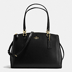 COACH CHRISTIE CARRYALL IN CROSSGRAIN LEATHER - IMITATION GOLD/BLACK - F36606