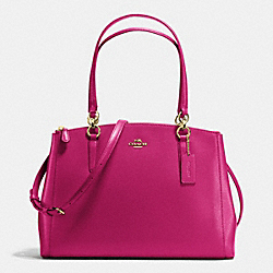 COACH CHRISTIE CARRYALL IN CROSSGRAIN LEATHER - IMITATION GOLD/CRANBERRY - F36606
