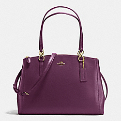 CHRISTIE CARRYALL IN CROSSGRAIN LEATHER - IMITATION GOLD/PLUM - COACH F36606